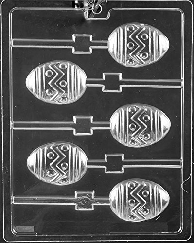 Grandmama's Goodies E481 Zig Zag Egg Easter Lollipop Chocolate Candy Soap Mold with Exclusive Molding Instructions
