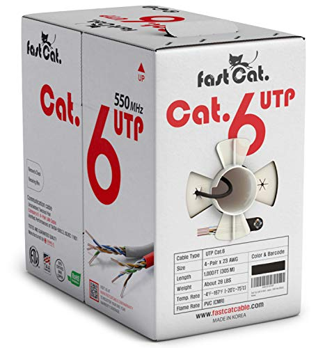 fast Cat. Cat6 Ethernet Cable 1000ft - 23 AWG, CMR, Insulated Solid Bare Copper Wire Internet Cable with Noise Reducing Cross Separator - 550MHZ / 10 Gigabit Speed UTP LAN Cable 1000 ft - CMR (Black)