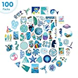 100PCS Cool VSCO Girl Stickers for Hydro Flask, Waterproof Water Bottle Stickers for Laptop Hydroflask, Trendy Blue Aesthetic Stickers for Kids Teen Girl Boys (100% Vinyl)