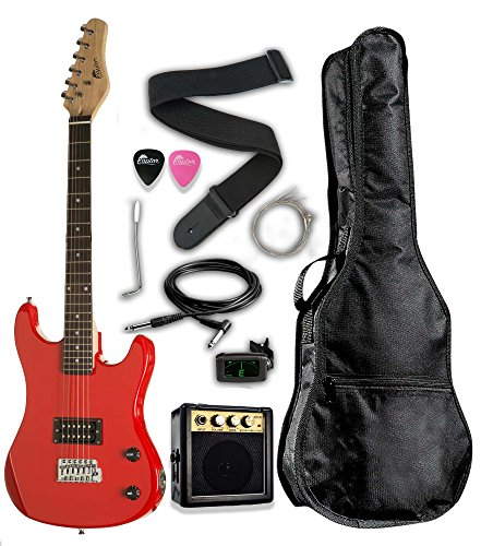 3/4 Scale 36' Kids Child Starter Electric Guitar Pack EP36 with 3W Amp, Digital Tuner, Gig Bag, Strap, Cable, Replacement Strings, Whammy Bar, Picks by RAPTOR (Red)