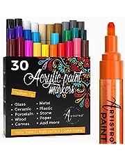 Acryl verf Markers Pennen - 30 Acryl verf Pennen Medium Tip (2mm) - Geweldig voor Rock Painting, Hout, Stof, Kaart, Papier, Keramiek & Glas - 28 Kleuren + Extra Zwart & Wit Verf Marker Set