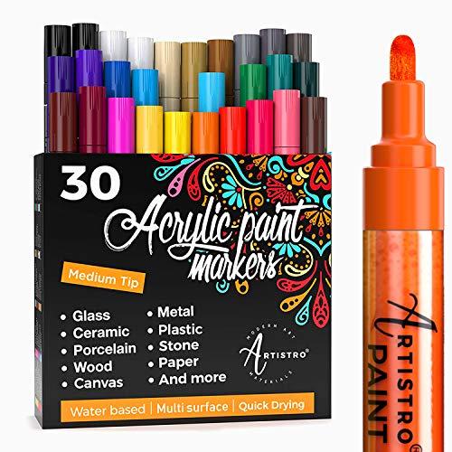 ARTISTRO rotuladores de pintura acrílica bolígrafos acrílicos - 30 colores - 2mm...