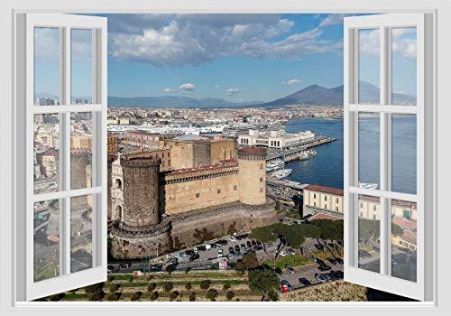 Adesivi Murali Finestra - VESUVIO GOLFO CASTELLO NAPOLI - 70x100 cm WALL STICKERS 3D parete muro
