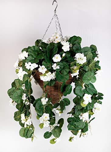 Pflanzampel Gr.L mit Geranie 45cm / 90cm weiß Kunstpflanzen Hängeampel Blumenampel künstliche Blumen Geranien