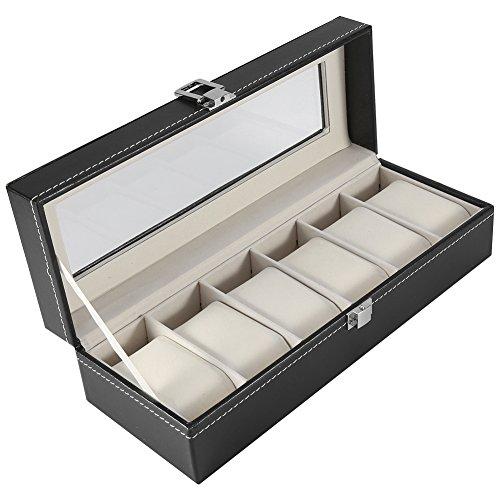 Xinapy Caja de reloj de cuero con 6 ranuras, caja de piel sintética, organizador para almacenamiento de joyas de relojes
