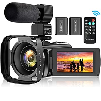 Video Camera Camcorder for YouTube, FHD 1080P 30FPS 24MP Digital Vlogging Camera 16X Digital Zoom 3.0 Inch 270° Rotation Screen Video Recorder with Lens Hood, Microphone, Remote Control, 2 Batteries by Aabeloy