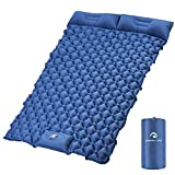 Kinmoku Sleeping Pad for Camping - 2 Person Sleeping Pad with Pillow Ultralight Camping Pad Foot Press Self Inflating Mattress Built in Pump Waterproof and Compact Sleeping Pads for Backpacking Hiking