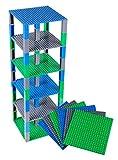 Pack de 6 Bases con Ladrillos separadores 2 x 2 - Construcción en Forma de Torre - Compatible con Todas Las Marcas - 15,24 x 15,24 cm - Azul, Verde, Gris
