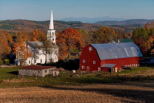 LFNSTXT - Puzzle per adulti, famiglie e bambini, 1000 pezzi, motivo: casette degli Stati Uniti, templi, chiesa, peacham Vermont, per adulti, famiglie e bambini.