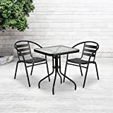 Flash Furniture 23.5'' Square Tempered Glass Metal Table,Clear/Black,23.5 inches