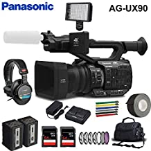 Panasonic AG-UX90 4K/HD Handheld Camcorder Accessory Kit with 2 x SDXC Memory Cards, Extra Battery, Filter Kit, Carrying C...