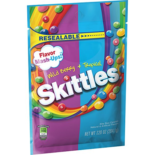 Skittles Flavor Mash-Ups Wild Berry and Tropical Candy, 7.2 ounce (12 Bags)