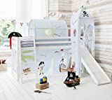 Noa and Nani - Midsleeper Cabin Bed with Slide and Pirate Pete Tent - (Solid White)