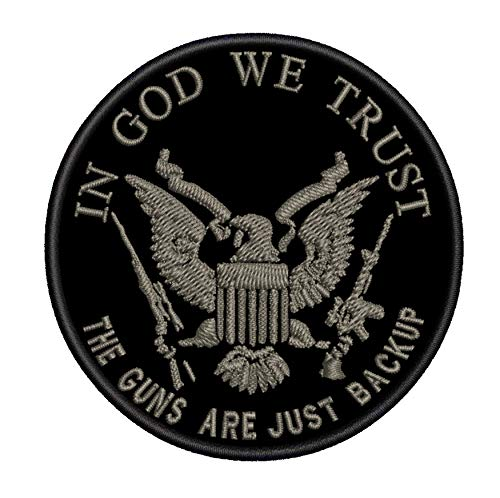 In God We Trust The Guns Are Just Backup 3.5' Embroidered Patch DIY Iron or Sew-on Decorative Vacation Travel Souvenir Applique Biker Emblem Badge Military Veteran Tactical Flag 2A US USA Constitution