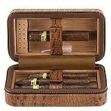 Ehonestbuy Cave à cigares de voyage en cuir véritable avec doublure en bois de cèdre espagnol...
