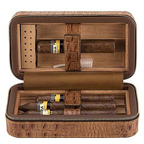 Genuine Leather 6 Cigar Travel Humidor - Ehonestbuy Spanish Cedar Wood Lined Ciger Box for Husband, Groomsmen Wedding Gift (Brown - Crocodile grain)