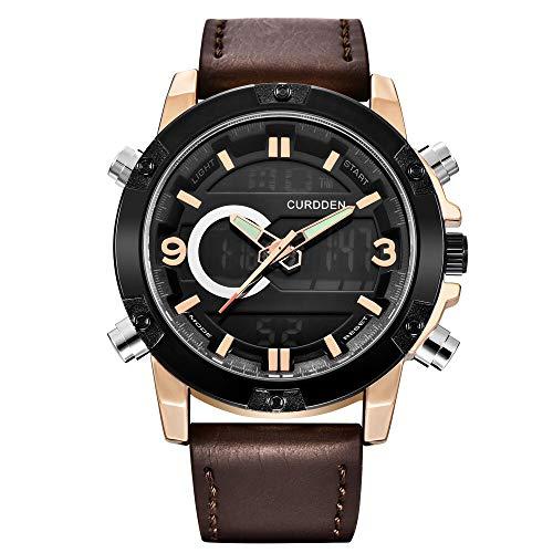 Clásico Hombres Relojes De Lujo Marca Sport Wristwatch Quartz Cord Band Watch Luxury Watch para los Hombres (Color : B)