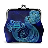 Monedero clásico de Cuero con diseño de horóscopo de Acuario, Cartera para Mujer, Personalizado