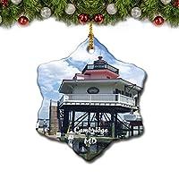 ケンブリッジ灯台メリーランド米国クリスマスツリーの飾りクリスマスオーナメントトラベルギフトのお土産3インチ磁器両面