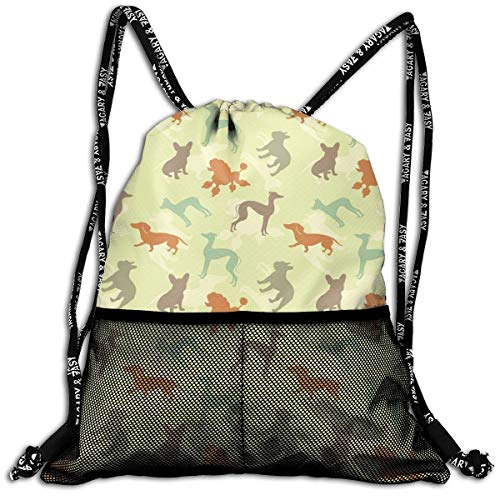 Drawstring Backpacks Bags,French Bulldog Greyhound Poodle Terrier Silhouette Pure Breed Animals Canine Type,Adjustable