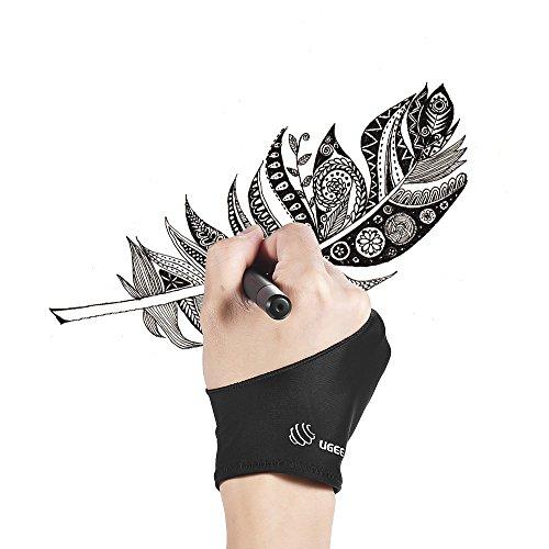 Aibecy UGEE Free Size due dita disegno guanto anti-incrostazione nero adatto per la destra e la mano sinistra per il disegno del Tablet artista