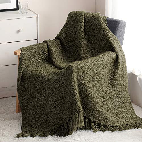 HORIMOTE HOME Manta gruesa de punto para sofá, silla, sofá, cama, estilo bohemio, con textura y flecos decorativos (oliva, 127 x 152 cm)