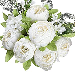 Floralsecret Artificial Silk Peony Flower Vintage Fake Bouquet Home Wedding Decor(Spring White)