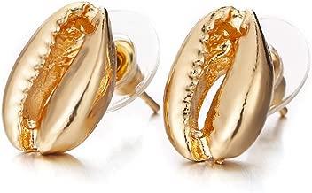 Czjewelry Shell Shape Stud Earring for Women Girls 14k Gold Color Zinc Alloy Jewelry