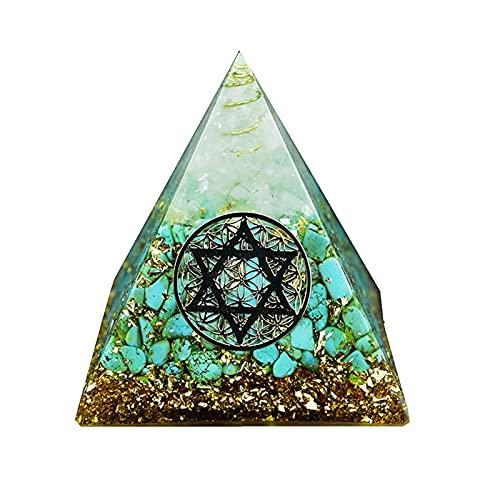 W.Z.H.H.H Crystal Rough Orgonite Piramide Chakra Life Potenziale Natural Turchese Resina Pyramid Pyramid Artigianato Decorazione di Cristallo .Cristalli di guarigione (Color : Verde, Size : 6cm)