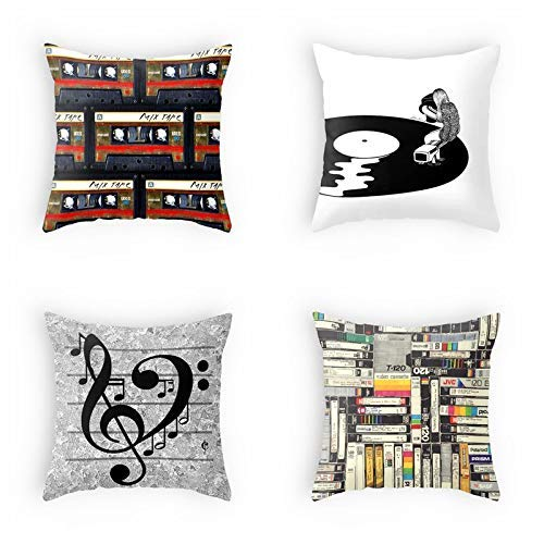 ArtSocket Set of 4 Throw Pillow Covers Vintage Music Magnetic Tape Vinyl Records Decorative Pillow Cases Home Decor Square 18x18 inches Pillowcases