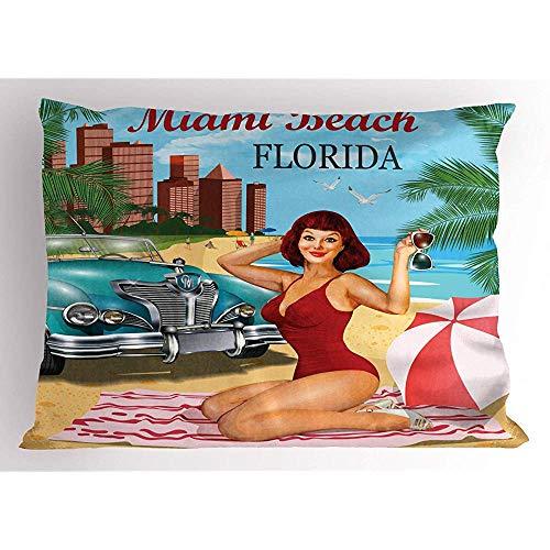 4 Stück 18X18 Zoll Florida Beach Pillow Sham,Miami Beach Florida Kalligraphische Retro-Stil Poster Design Einer Dame,Home Decor Standardgröße Gedruckt Kissenbezug