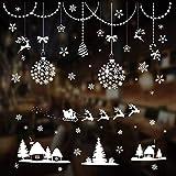 Vetrofanie Fiocchi di Neve per Natale, Riutilizzabili con Rimovibili PVC Adesivi Natalizi per Finestre, Porte, Vetro per Natalizie Decorazioni - Bianco