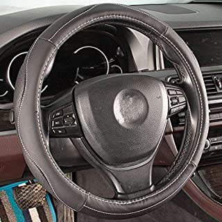 16sixteen Car Steering Wheel Cover Sport Design Black Soft Full Genuine Grain Leather Universal Fit 15 Inch Anti-Slip Breathable