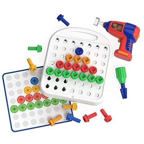 Educational Insights Design & Drill Patterns & Shapes Drill Toy, 58 Piece Set, STEM Toy for Ages 3+