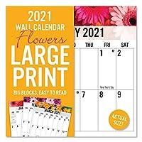2021 大型プリント花柄16ヶ月壁掛けカレンダー 読みやすい 丈夫な紙