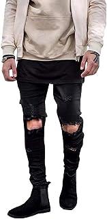 Men's Ripped Skinny Distressed Jeans Destroyed Slim Fit Stretch Biker Pants