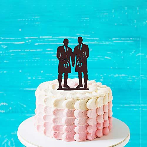 Rustieke Gay LGBT Bruiloft Taart Topper met kat, Aangepaste Naam Zelfde Sex Cake Topper, Bruid en Bruid Silhouette Taart Topper voor Verjaardag, Verloving