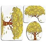 Juego de alfombras de baño de seguridad Árbol de la vida Solo árbol de otoño con hojas que caen Símbolo de la temporada Arte de otoño Sala de estar Alfombra de baño + Alfombra de contorno + Cubierta d