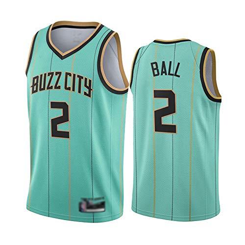 YDYL-LI Jersey di Pallacanestro da Uomo, NBA Charlotte Hornets-Lamelo Ball # 2, T-Shirt Asciugatura Rapida Maglia Mesh Fashion Gym Embroidery Gilet Tops Sport,Verde,L(175~180CM)