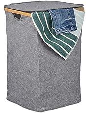 Relaxdays Tvättkorg, med lock, hopfällbar klädkorg, bambu och tyg, fyrkantig, bärbar, 42 liter, grå, polyester, bambu, grå, en artikel