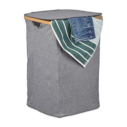 Relaxdays Wäschekorb mit Deckel, Faltbarer Wäschesack, Bambus & Stoff, quadratische Wäschetonne, tragbar, 42 Liter, grau