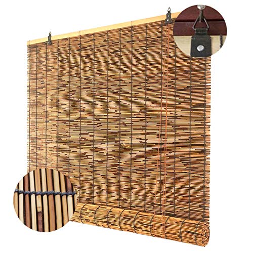 HJRD Persianas de Caña, Persiana de bambú Natural, Persianas enrollables de bambú, para Exterior/Patio, Estor Enrollable, Personalizable(145x235cm/57x93in1pc)
