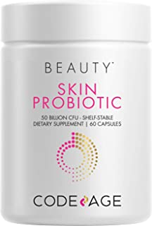 Codeage Skin Probiotics + Prebiotics - Skin Care Routine Supplement - 50 Billion CFU - Ayurvedic Botanical Herbs - Face Pr...
