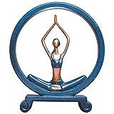 erddcbb Figura de Escultura Circular en Postura de Yoga/estatuas de Lectura Objeto de Adorno Hecho a Mano para decoración del hogar, Oficina, Mesa y Escritorio, A