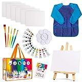 Kids Art Set   27-Piece Acrylic Paint Set with 5 Paint Brushes 8x10 Painting Canvas Tabletop Easel & Bonus Art Smock...