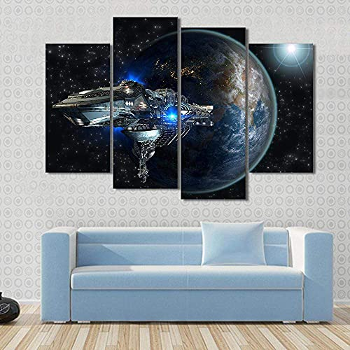 KOPASD Canvas Picture-4 Piece- Interstellar Spaceship Leaving Earth -120x80cm-4 Part Panels-Ready to Hang-wall art print-Completely framed-Image printed-art on canvas-Christmas Ornaments