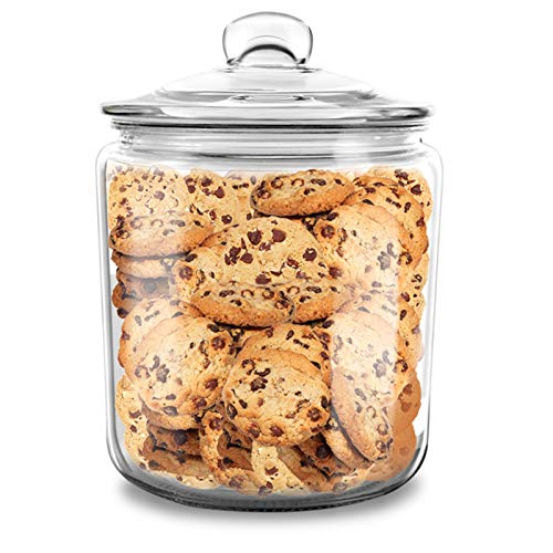 MASTERTOP 1 Gallon Clear Round Big Capacity Airtight Glass Storage Jar, Leak Proof Rubber Gasket Lid, Multifunctional Storage Container for Dry Food, Cookies, Snacks