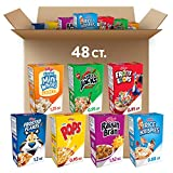 A delicious breakfast cereal variety pack containing a random selection of Raisin Bran, Rice Krispies, Corn Pops, Apple Jacks, Froot Loops, Frosted Mini Wheats, and Frosted Flakes (assortment varies) Family-favorite cereals perfect for kids and adult...