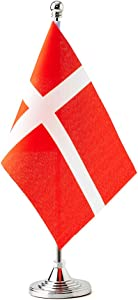 Denmark Small Table Flags Decor Danish Mini Desk Flag on Stand Base Decoration (Denmark Flag)
