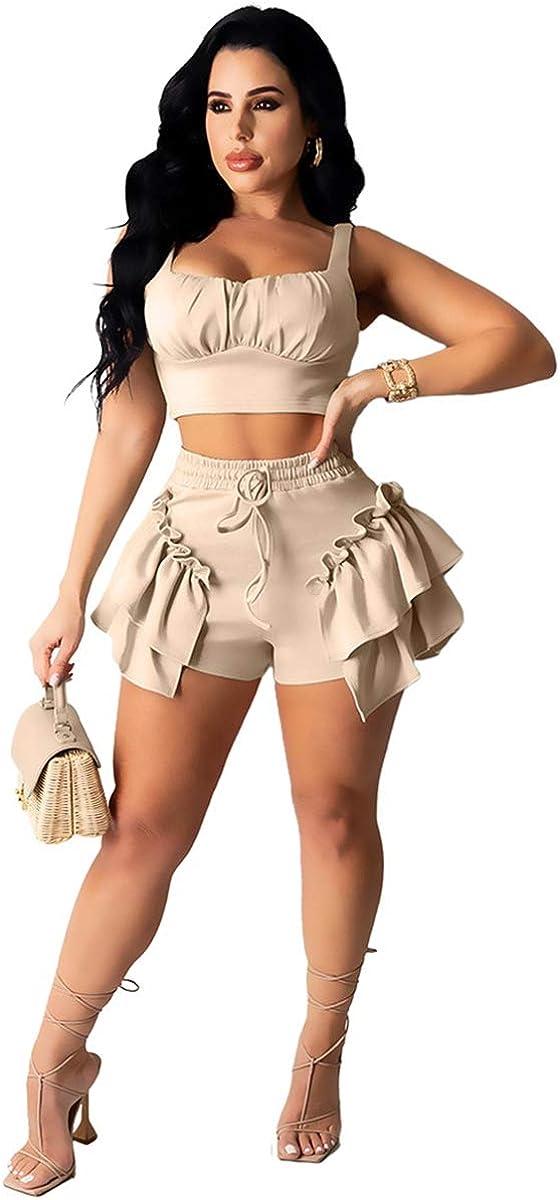 XuFeng Summer Beach Wear Women's Tracksuit Tank Top and Ruffles Shorts Suits